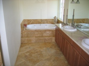 2nd Story master bed/bath addition, travertine tile bath