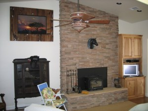 Stone fireplace with drystack ledgerstone