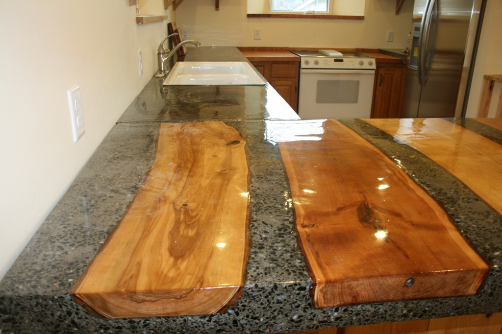 Beautiful Concrete Countertop With Inlaid Wood Logs