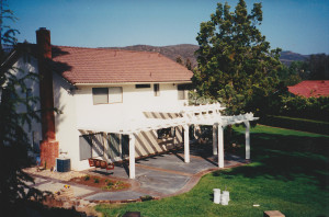 Decorative concrete patio with lattice patio cover