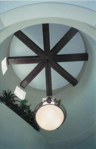 architectural wood beams in turret