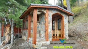 Custom stone shed on the lake