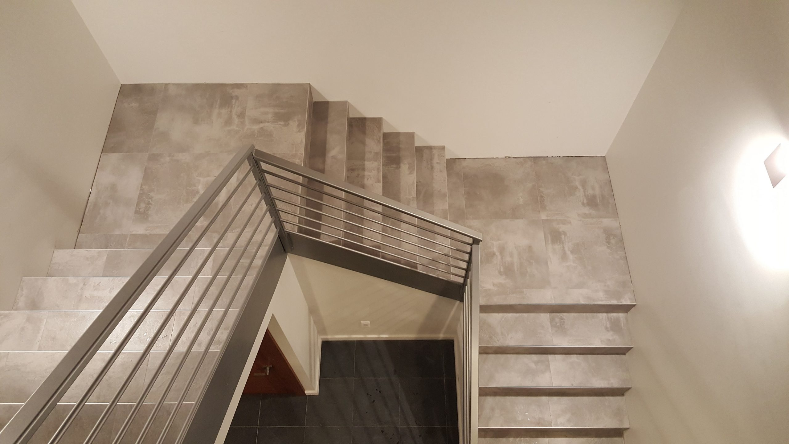 Custom home tile stairwell
